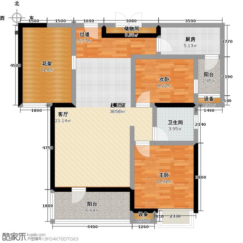 盛地沃尔玛广场97.89㎡C3户型2室2厅1卫