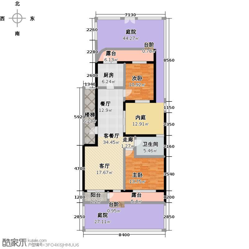 俊城橡树原俊城橡树原6、7号楼两室两厅一卫J1 户型