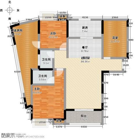 盛地沃尔玛广场2室0厅2卫1厨118.00㎡户型图
