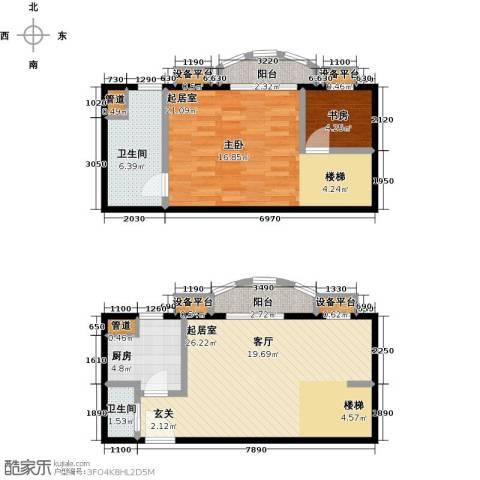 珠江绿洲1室0厅2卫1厨74.00㎡户型图