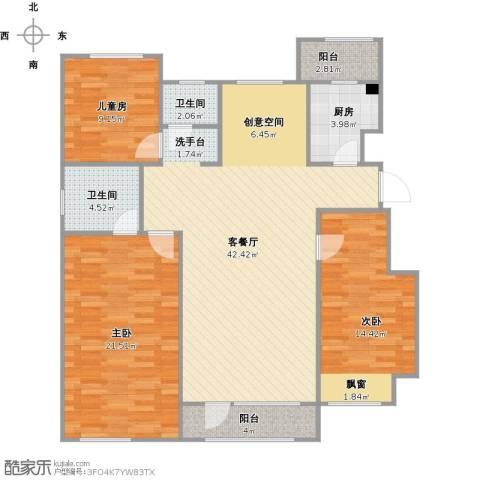 东安瑞凯国际3室1厅2卫1厨141.00㎡户型图