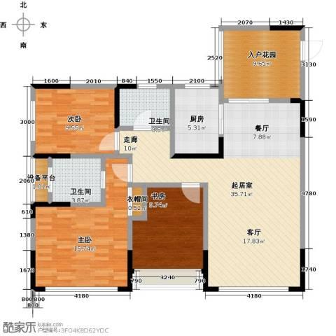 富临桃花岛3室0厅2卫1厨134.00㎡户型图