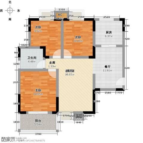 长城国际广场3室0厅1卫1厨94.00㎡户型图