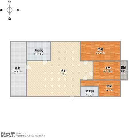 百花小区3室1厅2卫1厨225.00㎡户型图