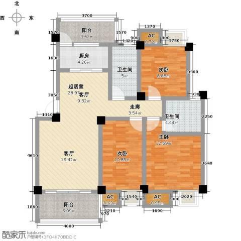 浩天岭都3室0厅2卫1厨103.00㎡户型图