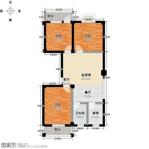 咸宁印象3室0厅1卫1厨109.00㎡户型图