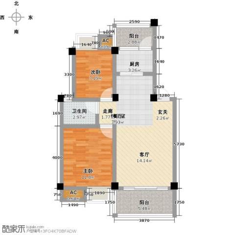浩天岭都2室0厅1卫1厨76.00㎡户型图
