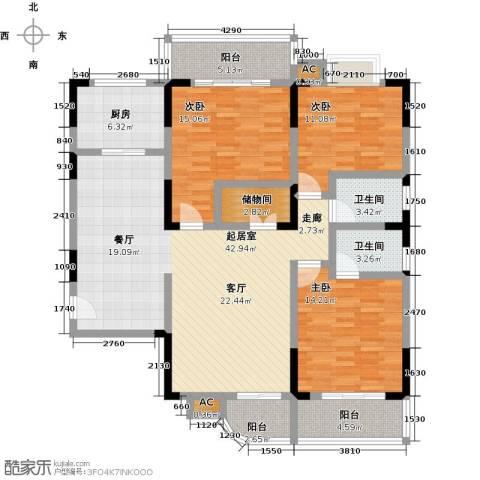 长城国际广场3室0厅2卫1厨131.00㎡户型图