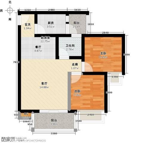 学府花园2室0厅1卫1厨70.00㎡户型图