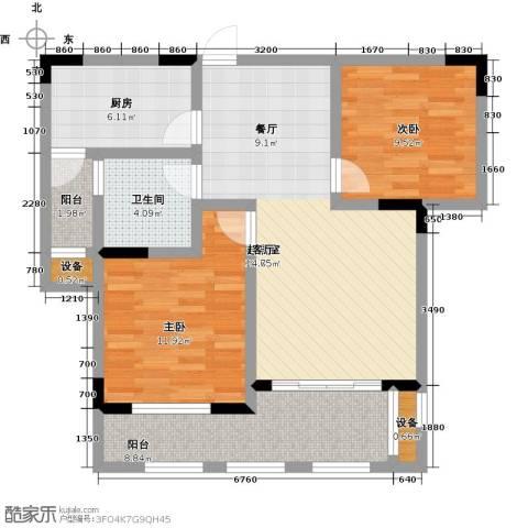 中建悦海和园2室0厅1卫1厨80.00㎡户型图
