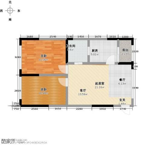 富临桃花岛2室0厅1卫1厨78.00㎡户型图