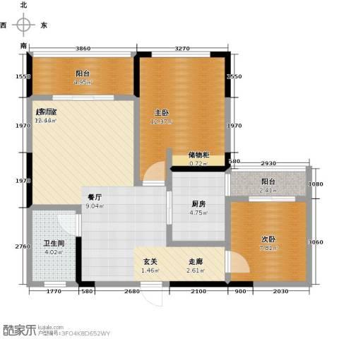 富临桃花岛2室0厅1卫1厨89.00㎡户型图