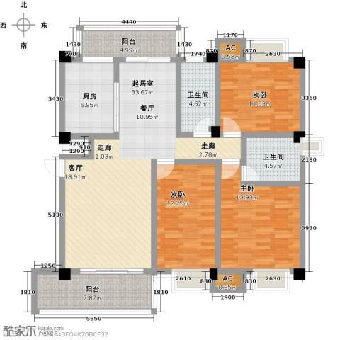 浩天岭都3室0厅2卫1厨133.00㎡户型图
