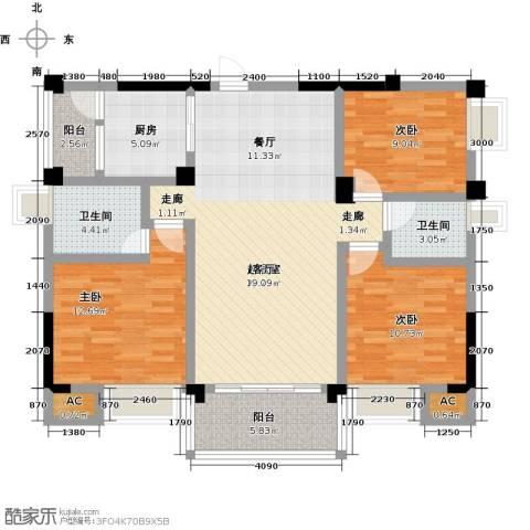 浩天岭都3室0厅2卫1厨129.00㎡户型图