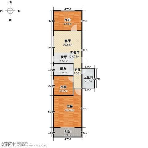 美华国际3室1厅1卫1厨104.00㎡户型图