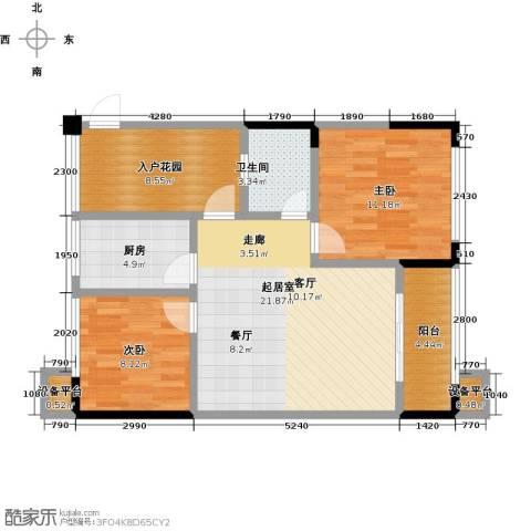 富临桃花岛2室0厅1卫1厨91.00㎡户型图