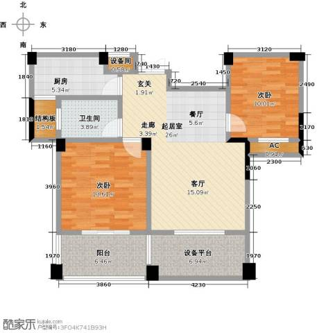 中茵名都2室0厅1卫1厨87.00㎡户型图