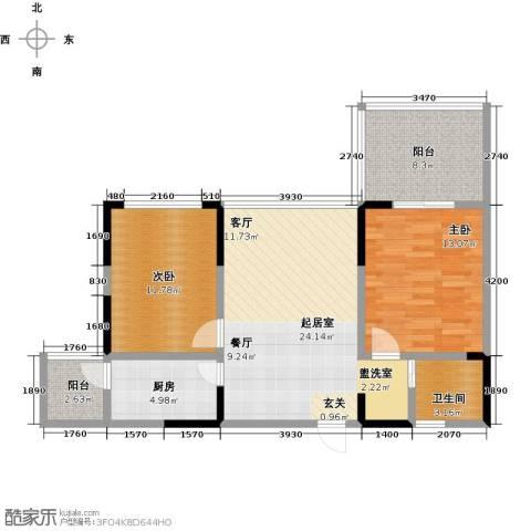 富临桃花岛2室0厅1卫1厨96.00㎡户型图