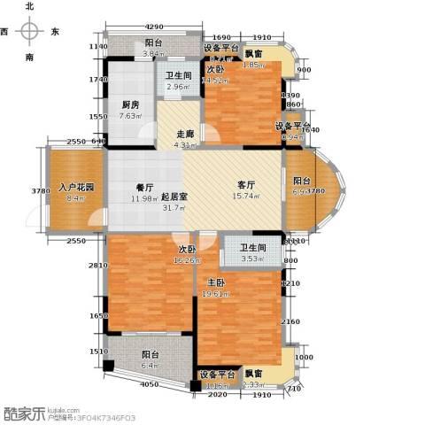 宇业天逸华府3室0厅2卫1厨132.00㎡户型图