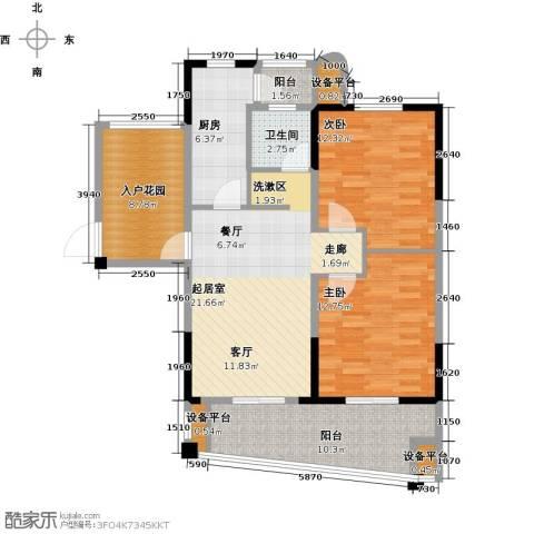 宇业天逸华府2室0厅1卫1厨89.00㎡户型图
