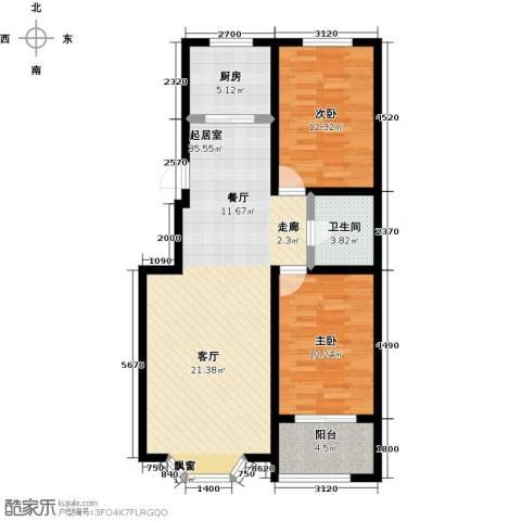 莲花山庄2室0厅1卫1厨105.00㎡户型图