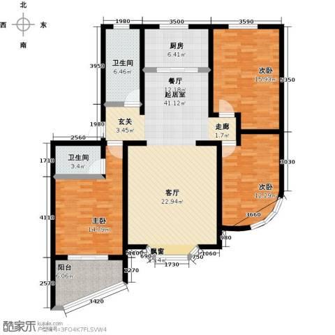莲花山庄3室0厅2卫1厨152.00㎡户型图