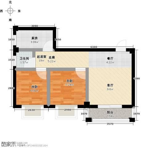 咸宁印象2室0厅1卫1厨68.00㎡户型图