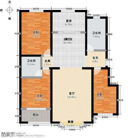 莲花山庄3室0厅2卫1厨171.00㎡户型图