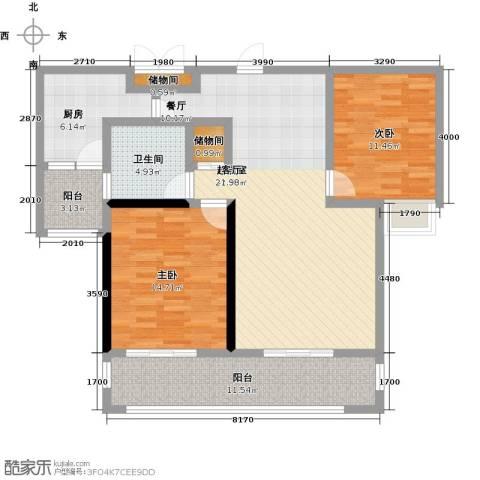 上海公馆2室0厅1卫1厨101.00㎡户型图
