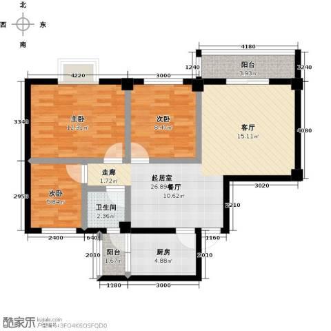 咸宁印象3室0厅1卫1厨98.00㎡户型图