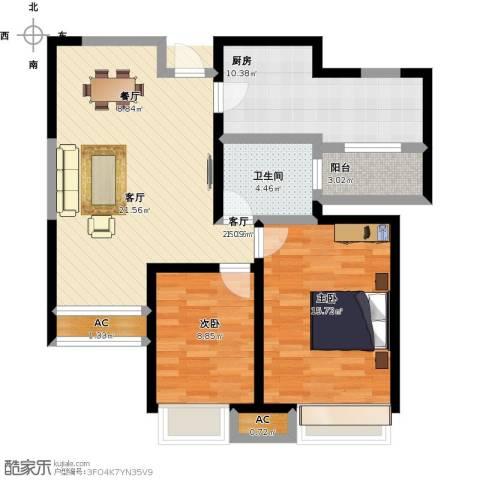 国耀上河城2室1厅1卫1厨103.00㎡户型图