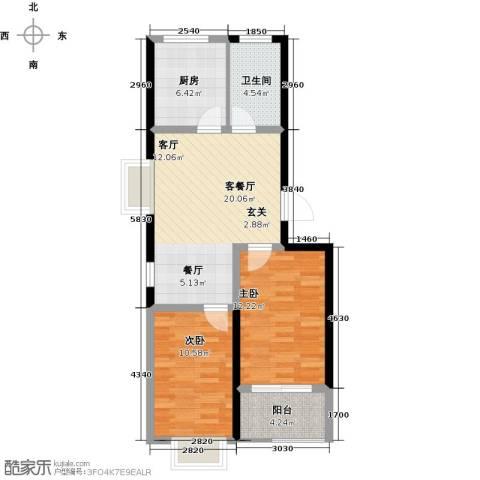 香岸花园2室1厅1卫1厨67.00㎡户型图