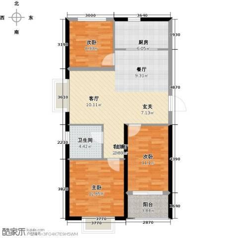 香岸花园3室1厅1卫1厨85.00㎡户型图