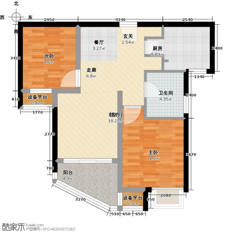 康桥水都二期70.00㎡房型: 二房; 面积段: 70 -80 平方米;户型
