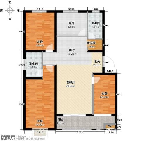 香岸花园3室1厅2卫1厨123.00㎡户型图