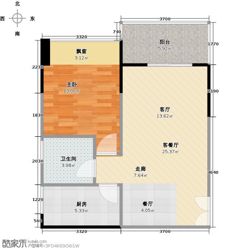 荣和中央公园户型1室1厅1卫1厨