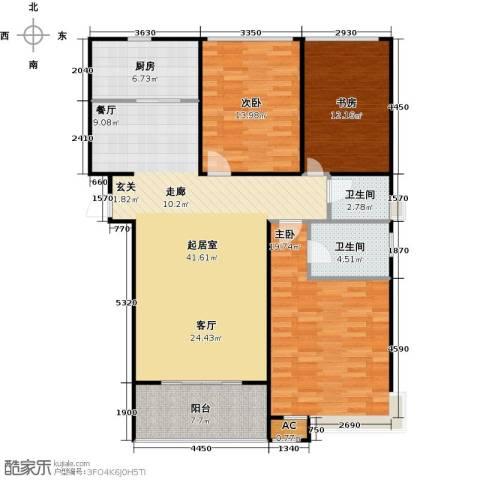 沁水新城观天下3室0厅2卫1厨143.00㎡户型图