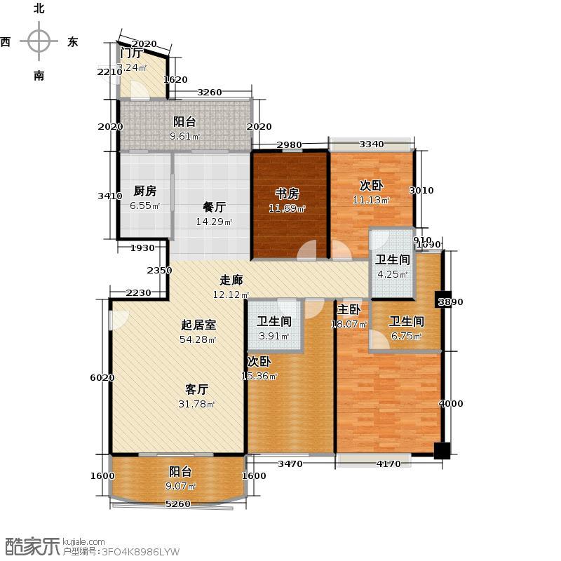 海岛・国际名城D户型四房两厅三卫两阳台户型4室2厅3卫