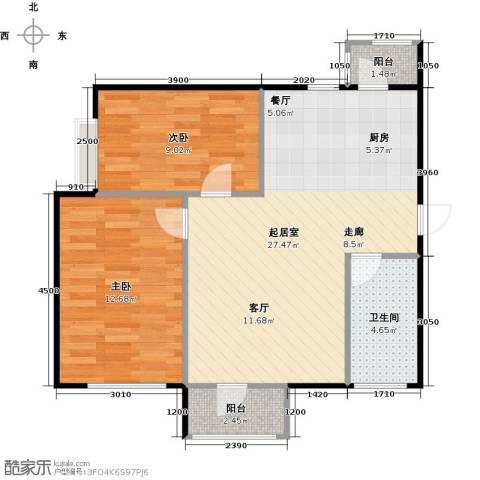 大连天地・悦翠台Style2室0厅1卫0厨77.00㎡户型图