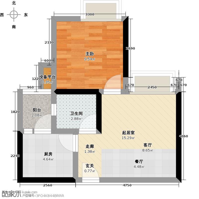 康利尔风花树51.51㎡A7+阳台户型1室1厅1卫