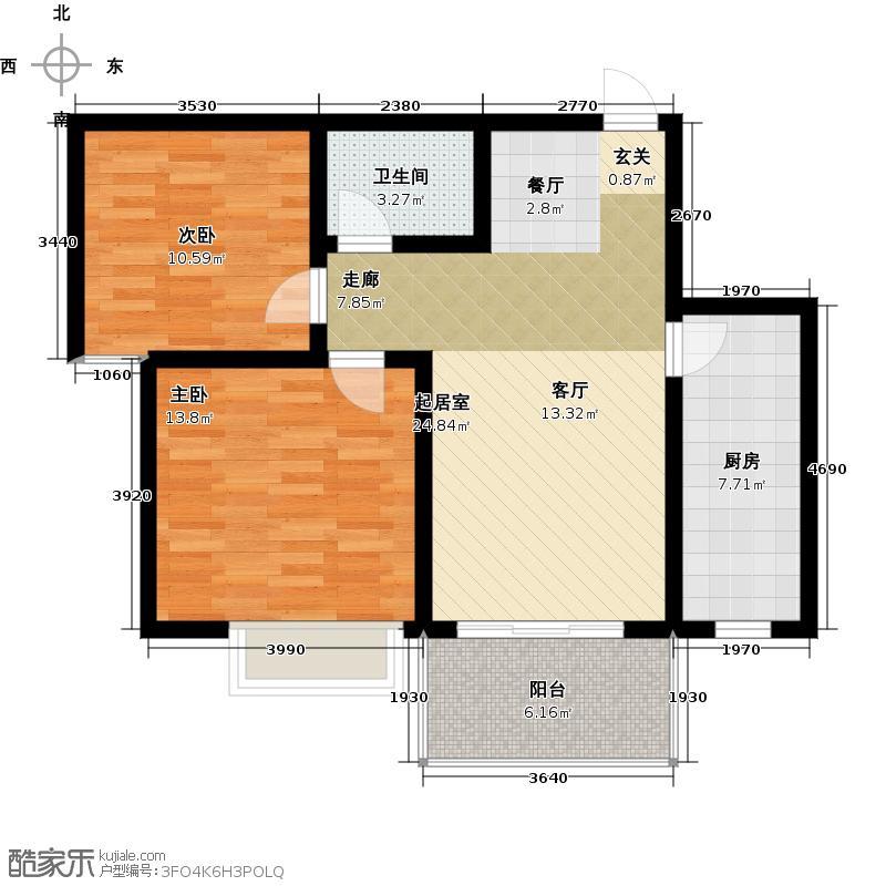 亿博豪轩78.19㎡两室两厅一卫户型2室2厅1卫