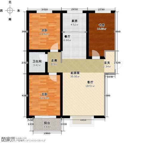 亿博豪轩3室0厅1卫1厨94.00㎡户型图