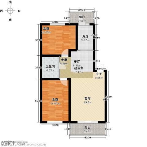 联通名苑2室0厅1卫1厨98.00㎡户型图