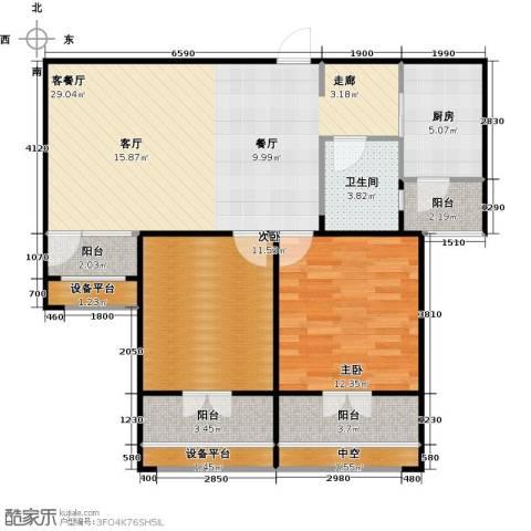 紫阳楚世家2室1厅1卫1厨85.00㎡户型图