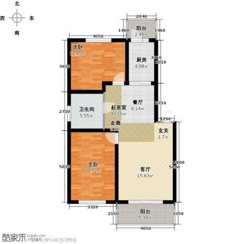 联通名苑2室0厅1卫1厨96.00㎡户型图
