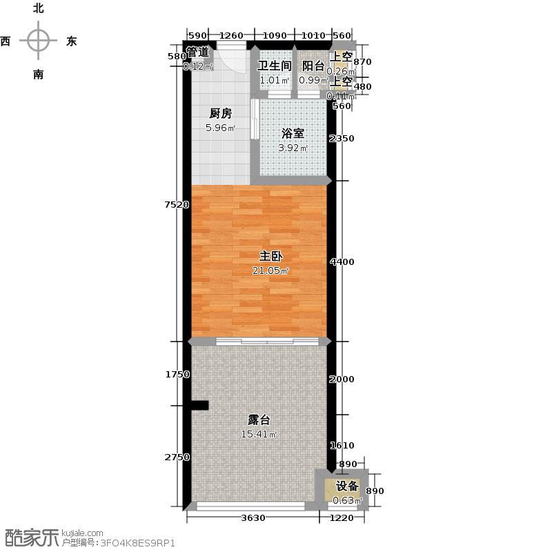 合景汀澜海岸53.29㎡E户型一室一厅一卫户型1室1厅1卫