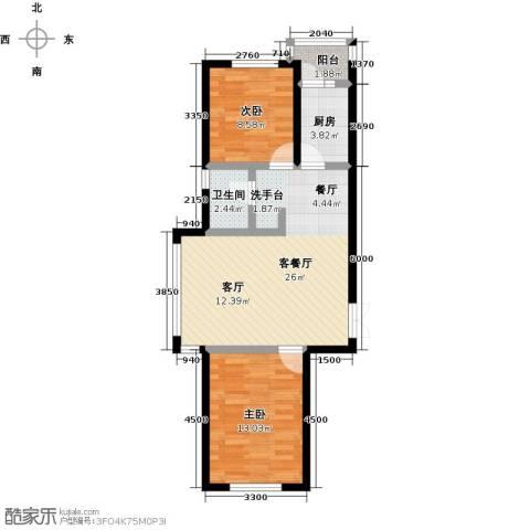 渤海玉园2室1厅1卫1厨86.00㎡户型图