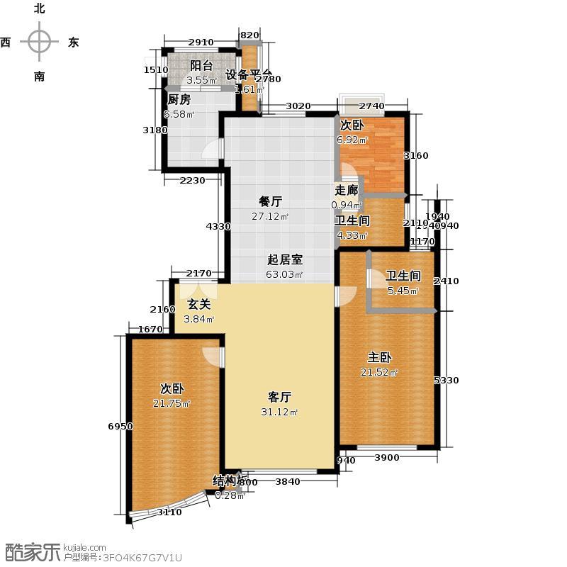东湖湾180.00㎡505号楼1-2 E1户型 三室二厅二卫户型3室2厅2卫