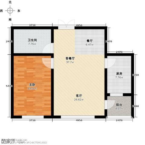 渤海玉园1室1厅1卫1厨86.00㎡户型图