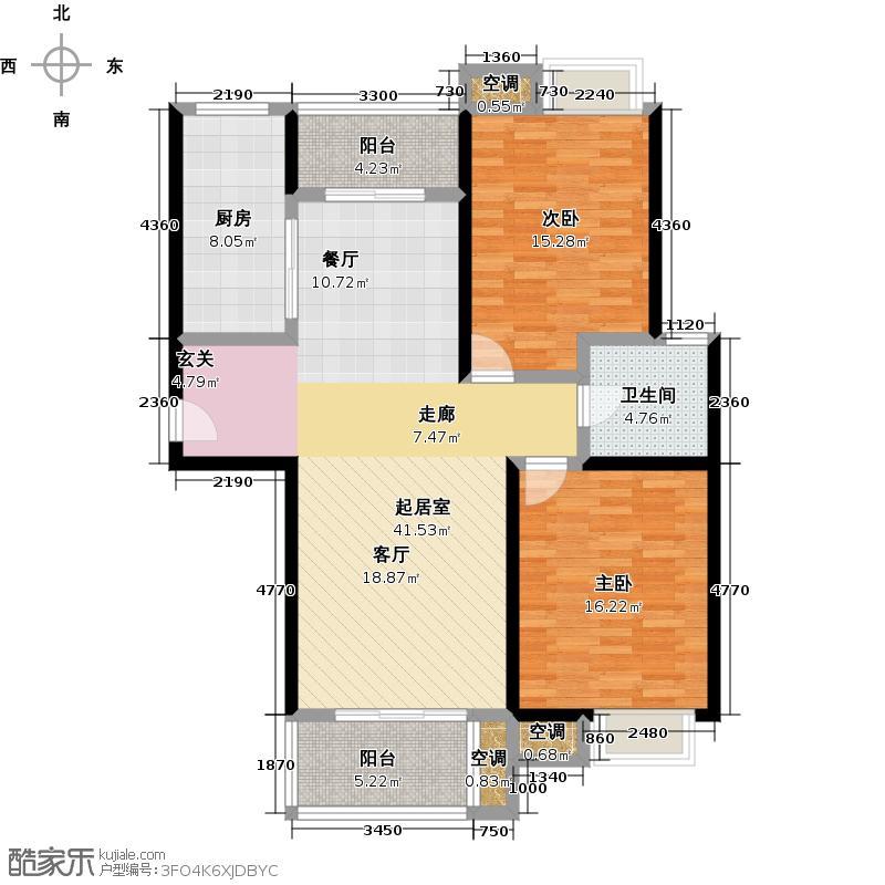 万里晶品苑二房二厅一卫,面积约111平方米户型